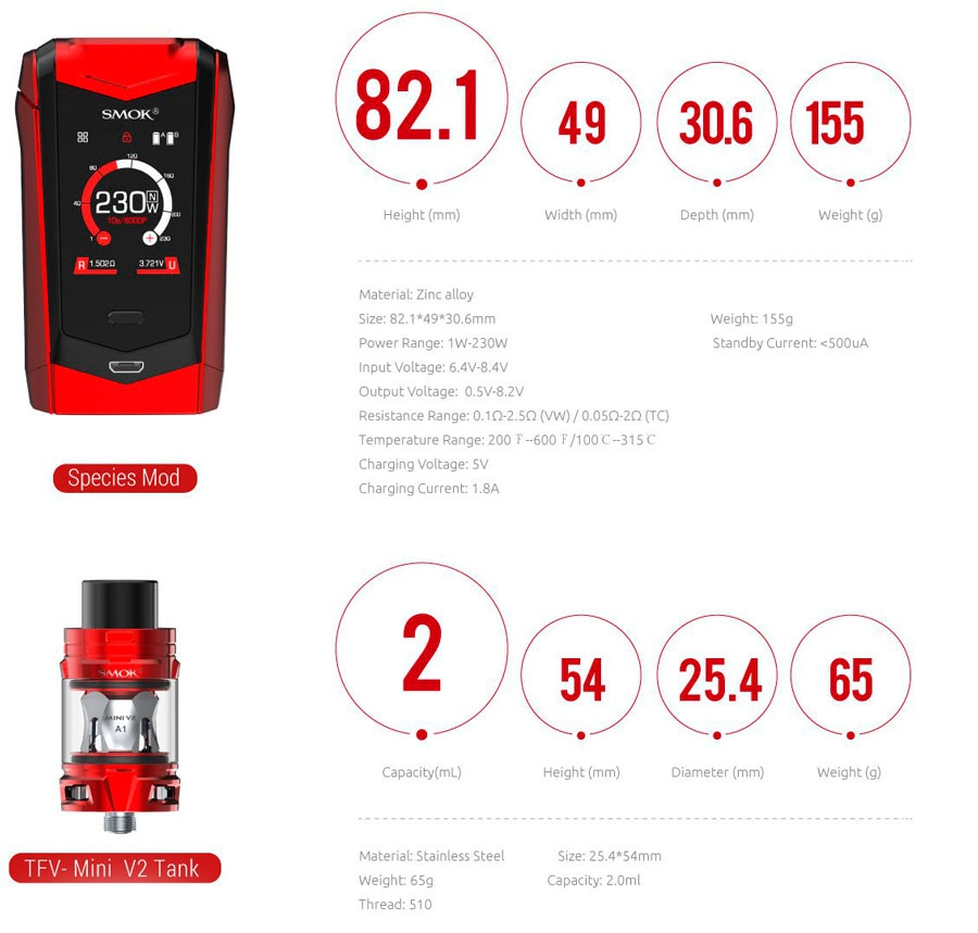 smok-species-mod-tfv-mini-v2-tank-kit-specifikationer